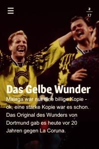 """Die fabelhafte Fußballliebhaber-App """"MitPicke"""", die Ihr kostenlos downloaden könnt, hat zu den """"Wunder""""-Spielen BVB - La Coruna und BVB - Malaga ein umfangreiches Themenpaket geschnürt."""